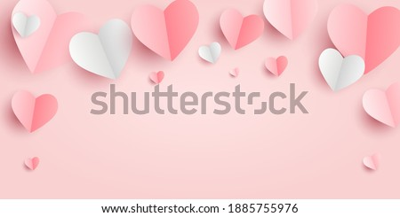 Valentines hearts postcard. Paper flying elements on pink  background. Vector symbols of love in shape of heart for Happy Women's, Mother's, Valentine's Day, birthday greeting card design. PNG  Foto stock ©