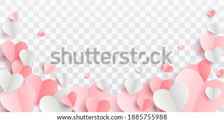 Valentines hearts postcard. Paper flying elements on transparent  background. Vector symbols of love in shape of heart for Happy Women's, Mother's, Valentine's Day, birthday greeting card design. PNG