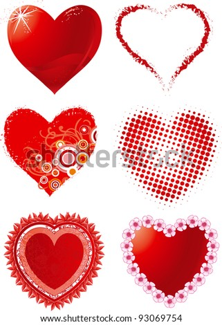 Valentines hearts. Vector set of hearts for Valentine's day