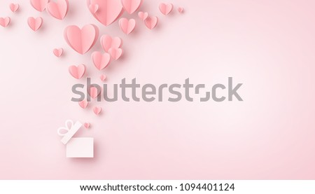Stock Photo Valentines hearts with gift box postcard. Paper flying elements on pink background. Vector symbols of love in shape of heart for Happy Women's, Mother's, Valentine's Day, birthday greeting card design