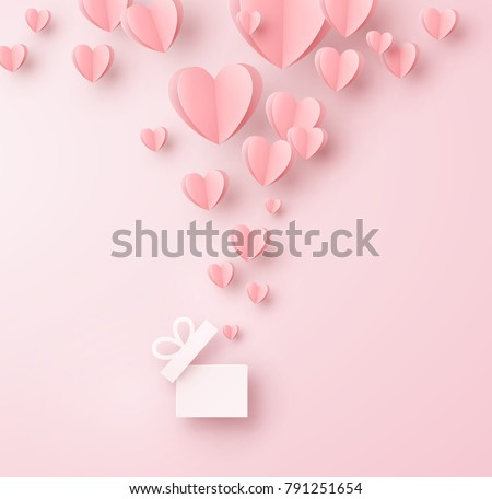 stock-vector-valentines-hearts-with-gift-box-postcard-paper-flying-elements-on-pink-background-vector-symbols