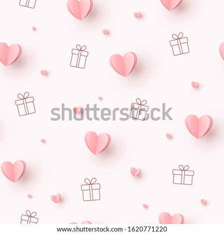 Valentines hearts with gift boxes on pink background. Vector love seamless pattern for Happy Mother's or Valentine's Day greeting card design.