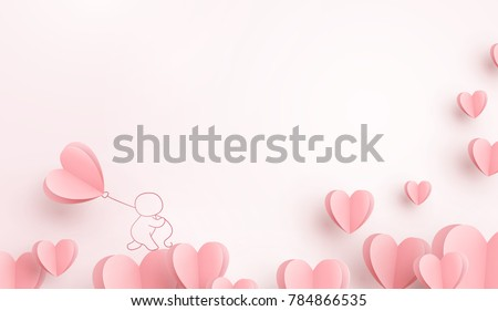 stock-vector-valentines-hearts-with-man-holding-balloon-paper-flying-elements-on-pink-background-postcard