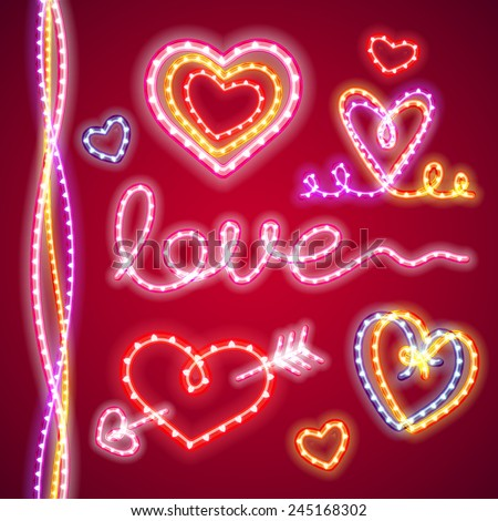valentines neon hearts for