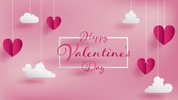 Valentines of paper craft design, contain pink hearts and clouds are holding by sting on top, soft pink background feel like fluffy in the air, Happy Valentine's Day text in middle with white border