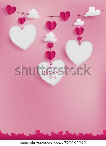 valentines paper art concept