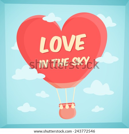 valentines poster with hot air