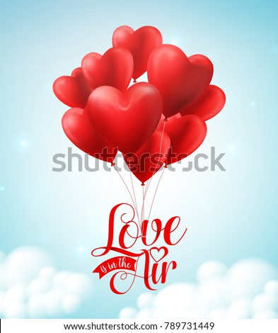 Valentines red heart balloons vector poster design with  floating love is in the air text typography in blue sky background for valentines day. Vector illustration.  #789731449