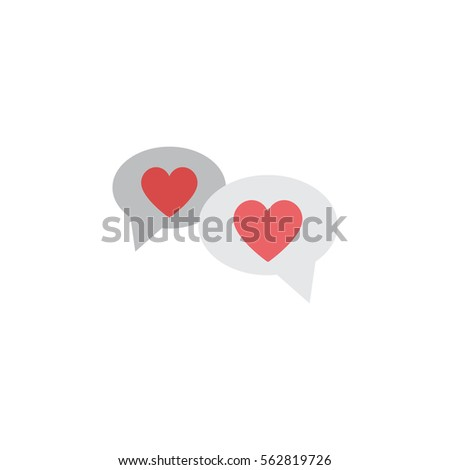 Valentines speech bubble icon on the white background