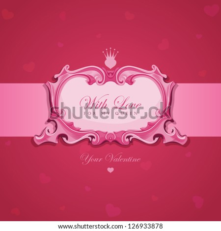 Valentines Vintage Greeting card.  Elegant Vector Template Luxury retro design. Vector done with love :)
