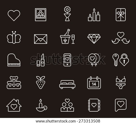 VALENTINES white outlined icon set in black background