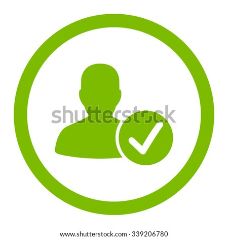 Valid Patient vector icon. Style is flat rounded symbol, eco green color, rounded angles, white background.
