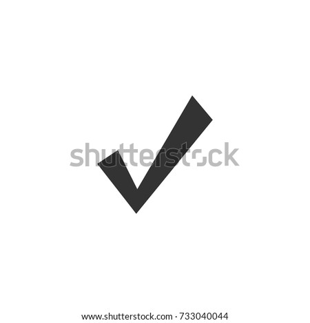 Valid Seal icon. Black tick. Flat OK sticker icon. Isolated on white. Accept button. Good for web and software interfaces. Vector illustration. Check Mark.