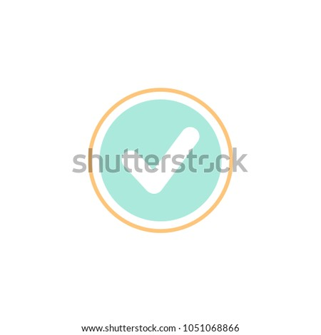 Valid Seal icon. Blue circle with orange outline and white tick. Flat OK sticker icon. Isolated on white. Accept button. Good for web and software interfaces. Vector illustration.