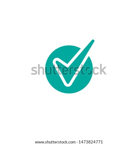 Valid Seal icon. Blue circle with ribbon outline and blue tick. Flat OK sticker icon. Isolated on white. Accept button. Good for web and software interfaces. Vector illustration.