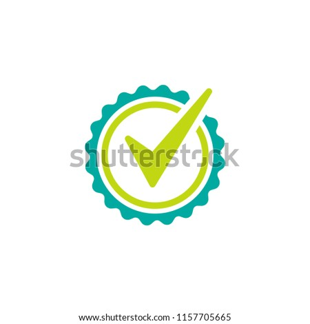 Valid Seal icon. Blue circle with ribbon outline and green tick. Flat OK sticker icon. Isolated on white. Accept button. Good for web and software interfaces. Vector illustration.