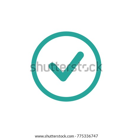 Valid Seal icon. Blue tick in blue circle. Flat OK sticker icon. Isolated on white. Accept button. Good for web and software interfaces. Vector illustration.