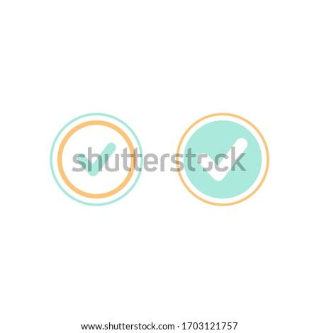 Valid Seal icons set. Blue circle with ribbon outline and squared tick. Flat OK sticker icon. Isolated on white. Accept button. Good for web and software interfaces. Vector illustration.