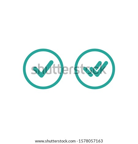Valid Seal icons set. Blue circle with  tick and double tick. Flat OK sticker icon. Isolated on white. Accept button. Good for web and software interfaces. Vector illustration.
