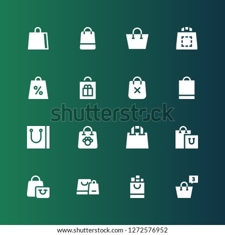 valise icon set. Collection of 16 filled valise icons included Shopping bag