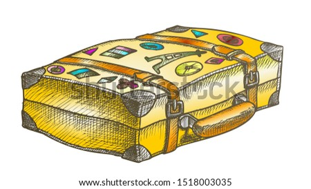 Valise With Royalty Travel Stickers Color Vector. Lying Aged Old Tourist Valise Container For Things. Voyage Luggage For Baggage Designed In Vintage Style Illustration