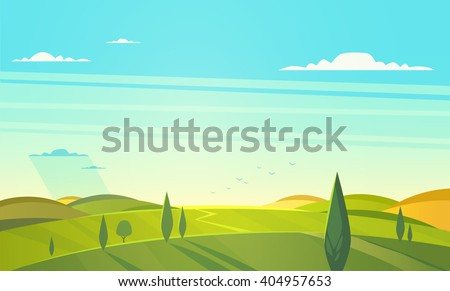 valley landscape vector