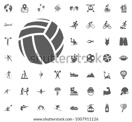 Valleyball ball icon. Sport illustration vector set icons. Set of 48 sport icons