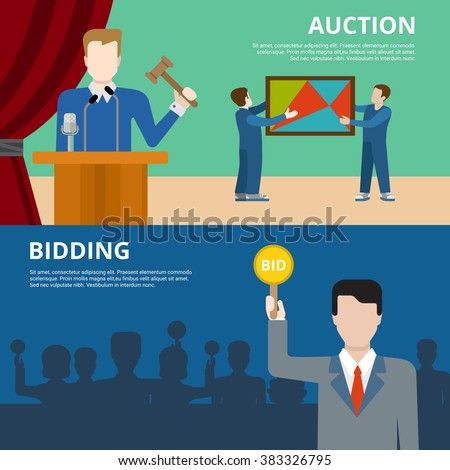 Valuable art object culture auction bidding concept flat web banner vector illustration. Picture in frame  auctioneer barker bidder buyer. Creative people collection.