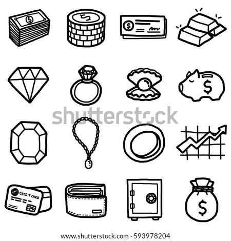 valuable objects, icons set / cartoon vector and illustration, hand drawn style, black and white, isolated on white background.