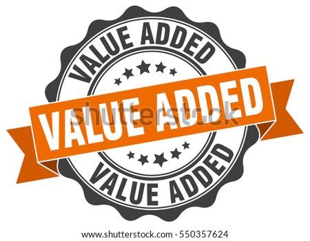 value added. stamp. sticker. seal. round grunge vintage ribbon value added sign