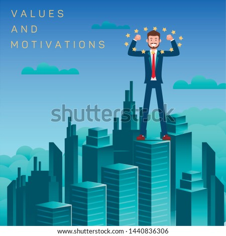 Values and Motivation Flat Vector Banner Template. Successful Men, Winner on Skyscraper Top. Achieving Goals, Aims, Victory Metaphor. Cartoon Businessman, Leader. Motivational Corporate Poster Layout