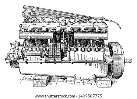 Valve Side View of Six Cylinder Rolls Royce Engine used to ignite fuel in the engine at a high voltage by using a spark plug  gap, vintage line drawing or engraving illustration.