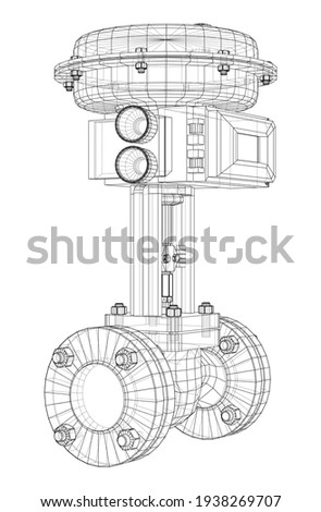 Valve with automatic electro-actuated. Vector rendering of 3d. Wire-frame style Foto stock ©