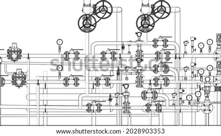 Valves and other industrial equipment. Vector rendering of 3d. Wire-frame style. The layers of visible and invisible lines are separated. Orthography Photo stock ©