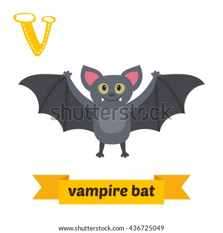 Vampire bat. V letter. Cute children animal alphabet in vector. Funny cartoon animals. Vector illustration