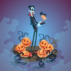 Vampire Dracula Using Cell Smart Phone Halloween Greeting Card Banner Flat Vector Illustration