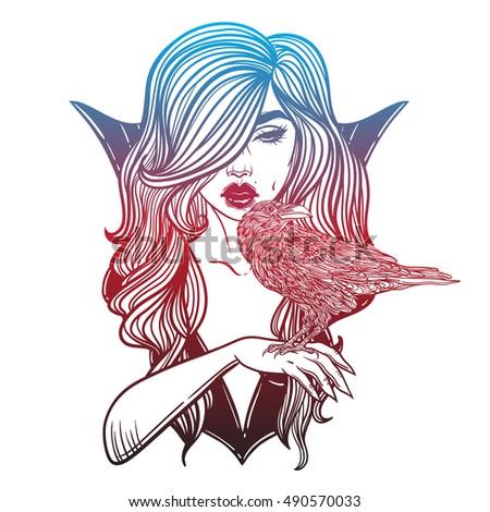 vampire girl with hand raven