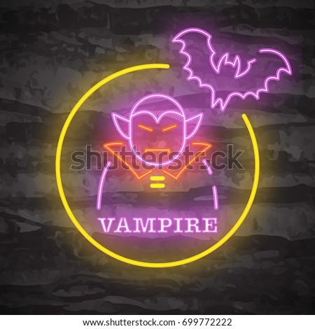 vampire halloween night neon