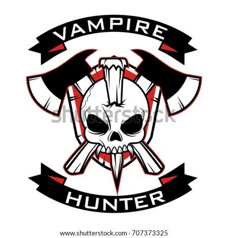 vampire hunter badge vector