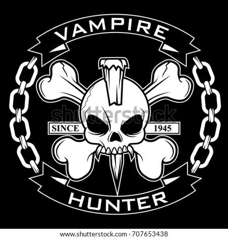 vampire hunter crossbones vector