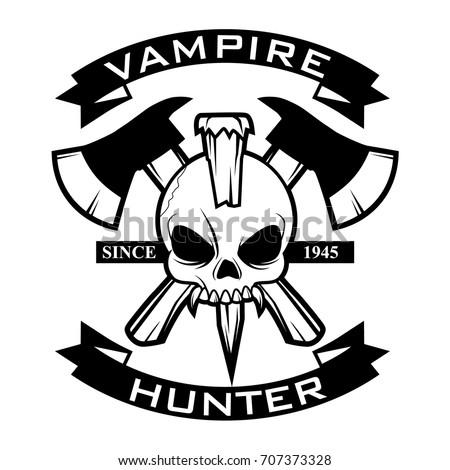 vampire hunter logo vector