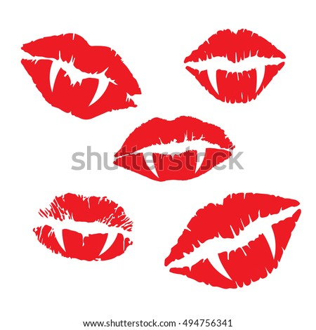 vampire lips and fangs icon set