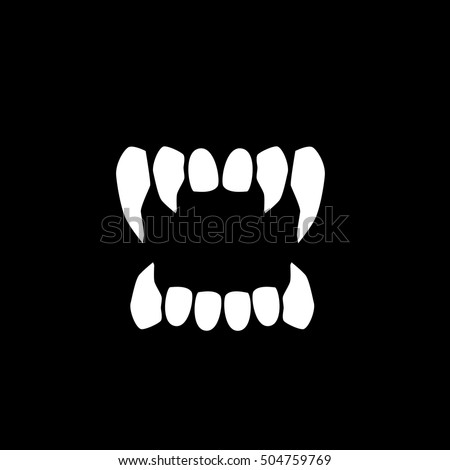 Shutterstock Vampire's teeth icon isolated on neutral background. Vector art.
