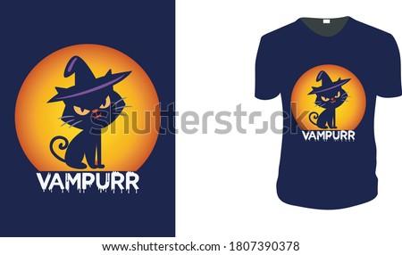 Vampurr Vampire Cat T Shirt T shirt Design Funny Halloween Tee Shirts Custom Graphic Tee. Halloween Gift Idea, Halloween T-Shirt, Halloween Vector graphic for t shirt, Vector graphic,