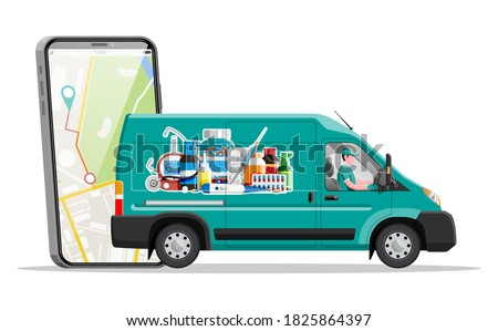 Van for delivery pharmaceutical drugs, hand with smartphone. Green drugstore truck. Internet pharmacy, online order. Medical assistance, help, support online. Health care. Flat vector illustration