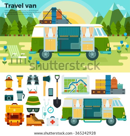 van for traveling vector flat