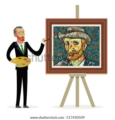 van gogh cartoon painting portraits