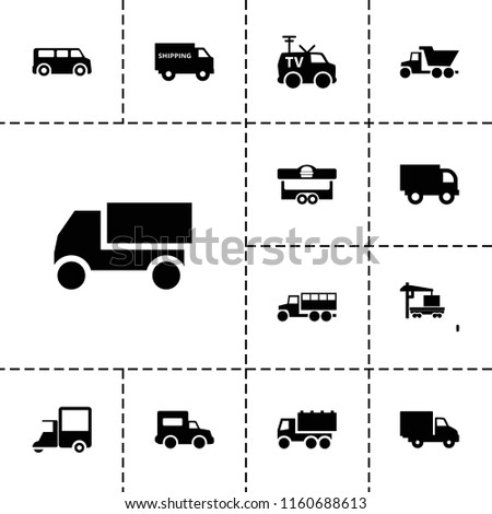 Van icon. collection of 13 van filled icons such as truck, cargo truck, delivery car, shipping truck. editable van icons for web and mobile.
