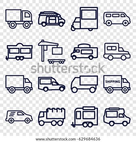 Van icons set. set of 16 van outline icons such as van, truck, trailer, cargo truck, delivery car