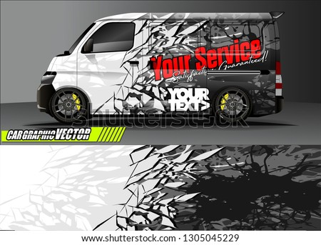 van livery design vector. abstract race style background with shattered glass concept for vehicle vinyl sticker wrap